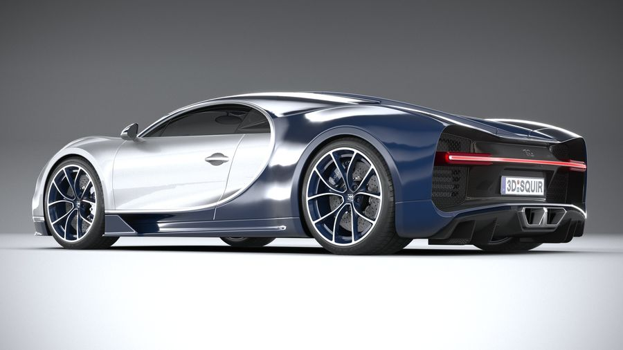 Bugatti Chiron 2020 royalty-free 3d model - Preview no. 6