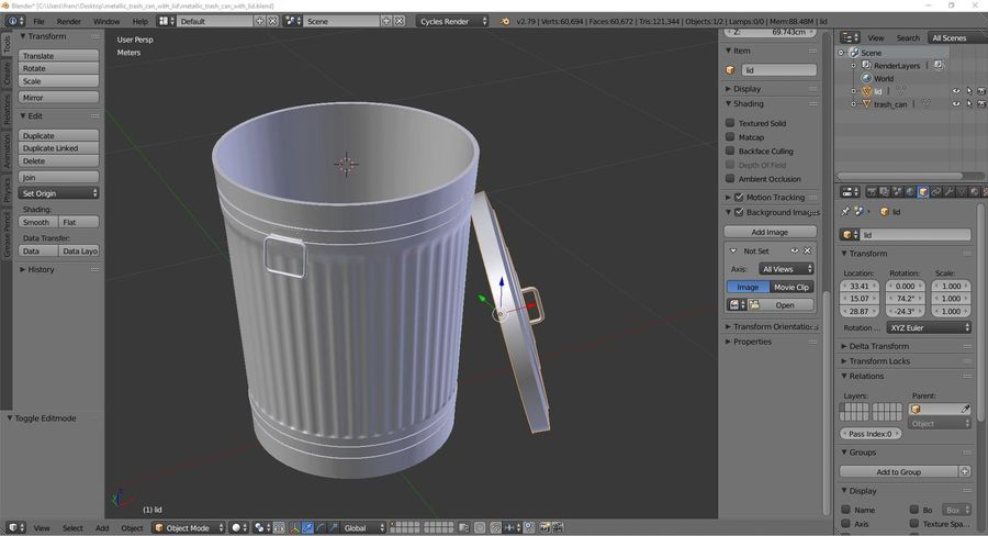 Metallic trash can with lid royalty-free 3d model - Preview no. 1