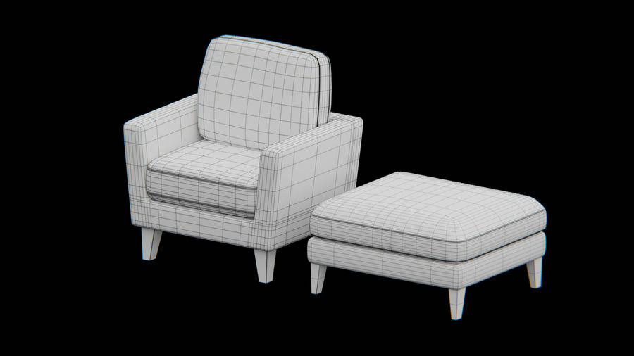 Sofa and Ottoman royalty-free 3d model - Preview no. 1