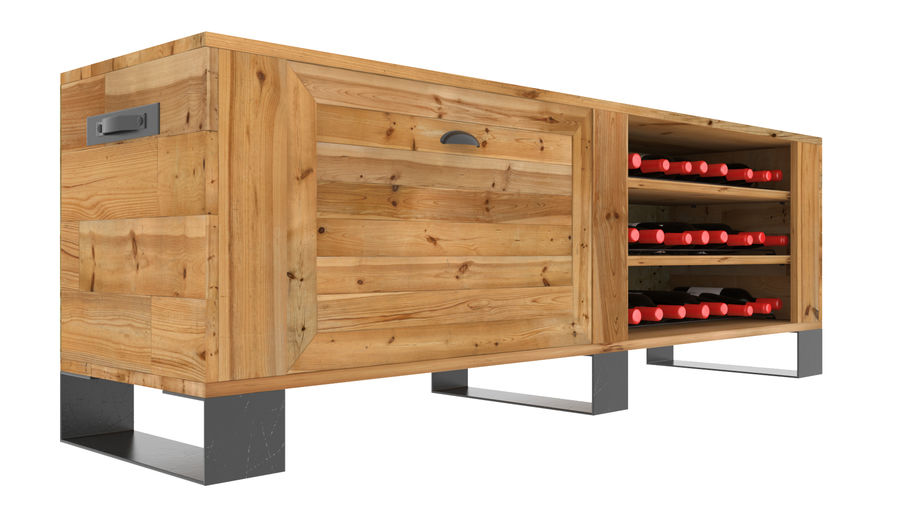 Wooden TV stand with wine rack royalty-free 3d model - Preview no. 1