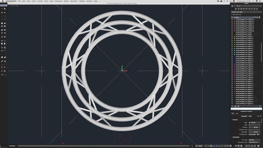 Truss Triangular diameter 150cm royalty-free 3d model - Preview no. 9