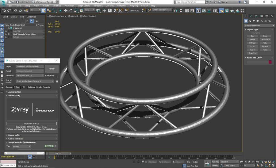 Truss Triangular diameter 150cm royalty-free 3d model - Preview no. 6