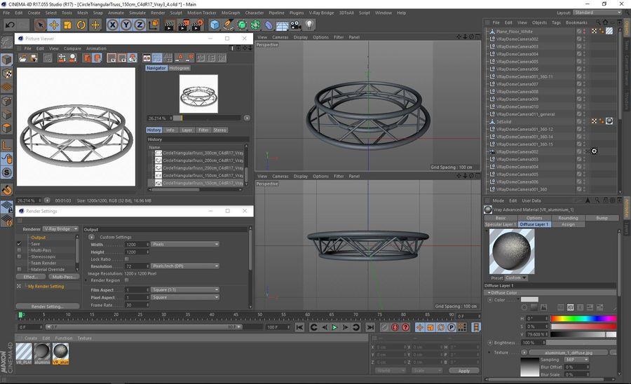 Truss Triangular diameter 150cm royalty-free 3d model - Preview no. 7