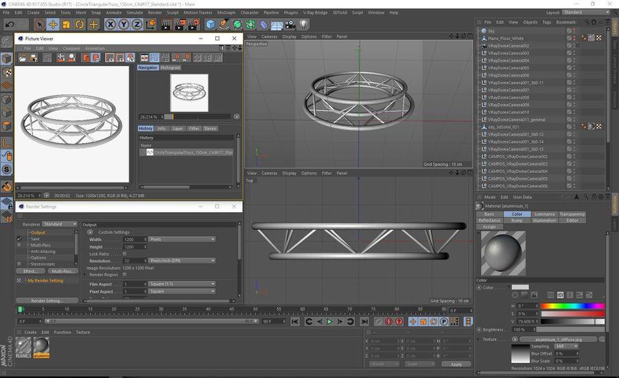 Truss Triangular diameter 150cm royalty-free 3d model - Preview no. 8