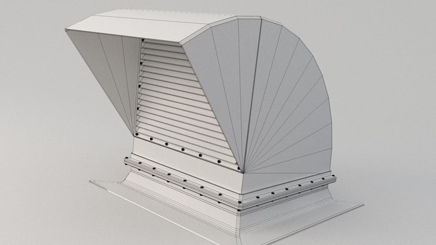 Ventilation Exhaust Fan Roof (6) royalty-free 3d model - Preview no. 7