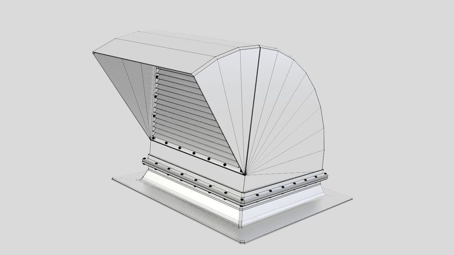 Ventilation Exhaust Fan Roof (6) royalty-free 3d model - Preview no. 6