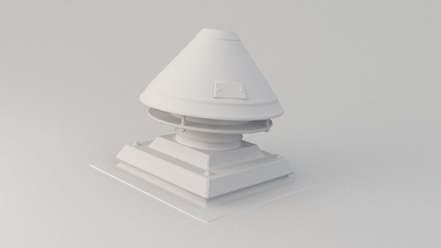 Ventilation Exhaust Fan Roof (3) royalty-free 3d model - Preview no. 1