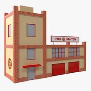 Caserne de pompiers Cartoon Low Poly 3d model