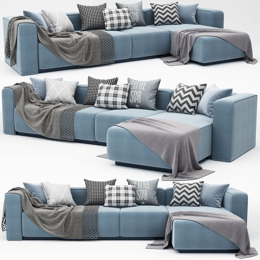 nowoczesna sofa narożna royalty-free 3d model - Preview no. 3