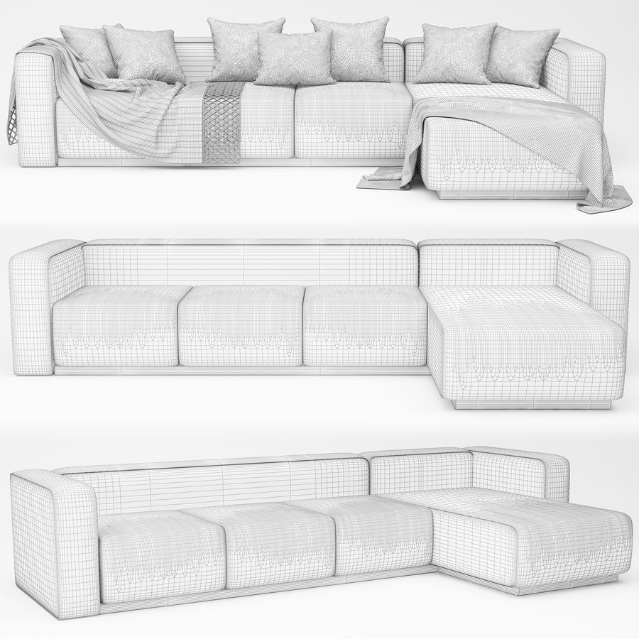 nowoczesna sofa narożna royalty-free 3d model - Preview no. 5