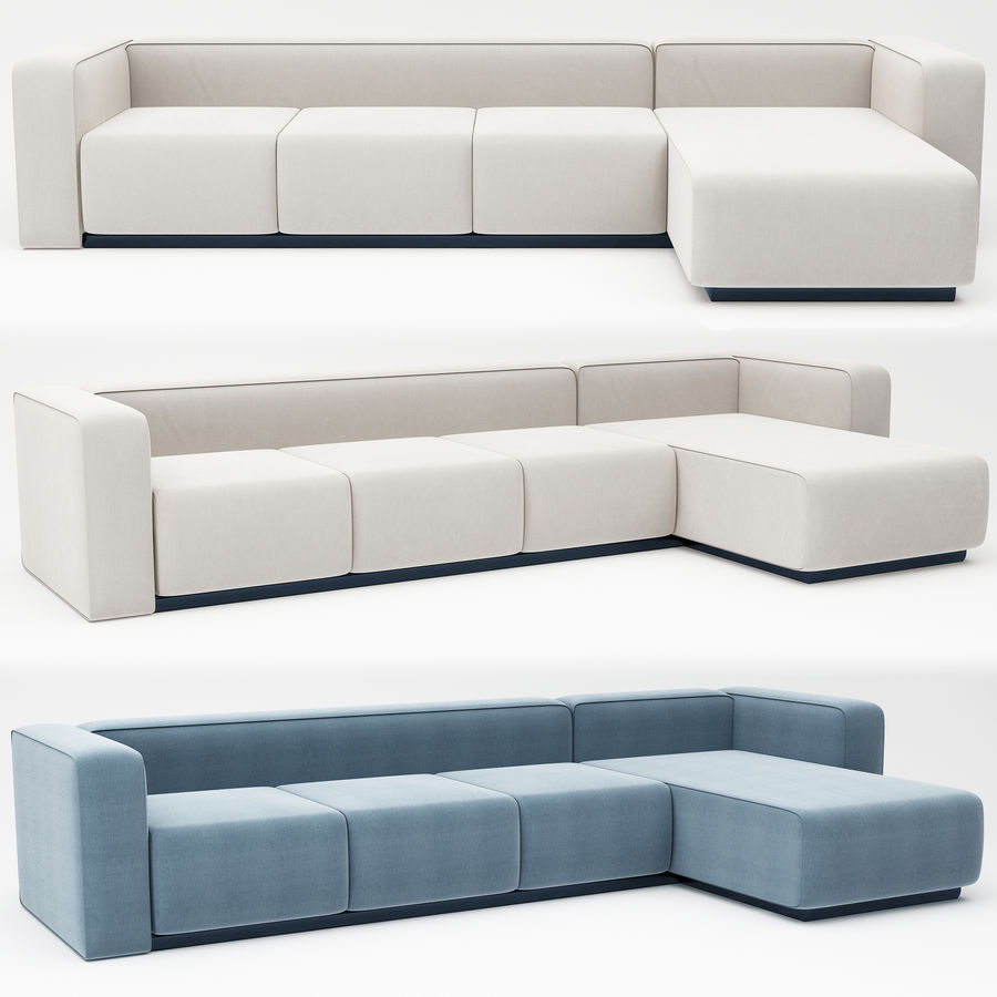 nowoczesna sofa narożna royalty-free 3d model - Preview no. 4
