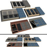 Roof windows Skylights with solar panels 3d model