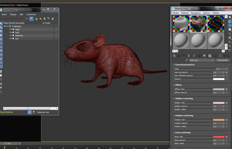 Животная крыса мышь royalty-free 3d model - Preview no. 20