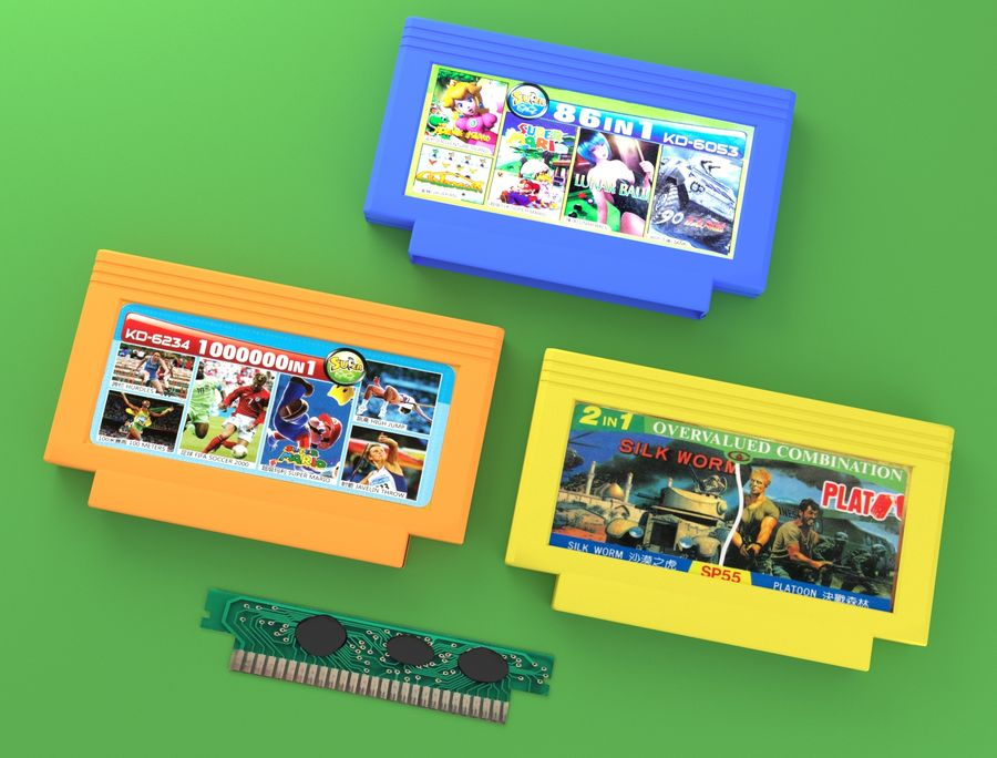 Cartridges for Dendy 8 bit royalty-free 3d model - Preview no. 5