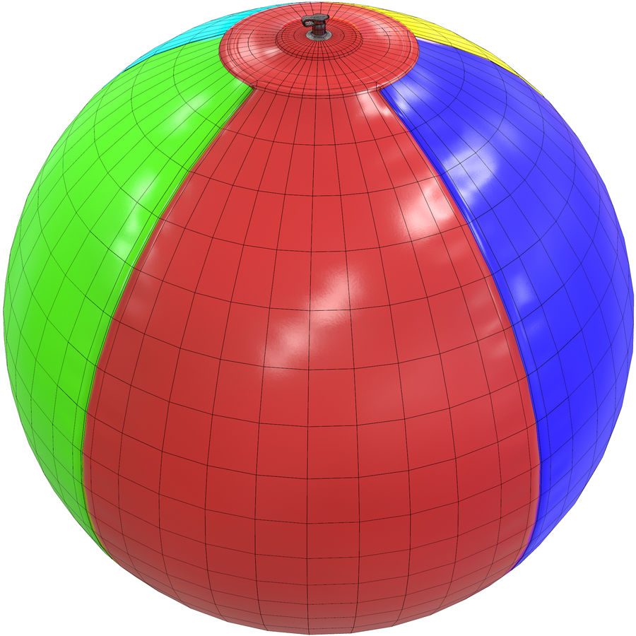 Inflatable beach ball royalty-free 3d model - Preview no. 4