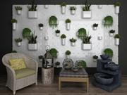 Collection décorative de chaise de loisirs en rotin Bonsai mur et table basse 3d model