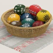 Easter eggs and basket 3d model