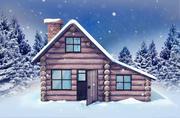 Stylized Winter Log Cabin House 3d model