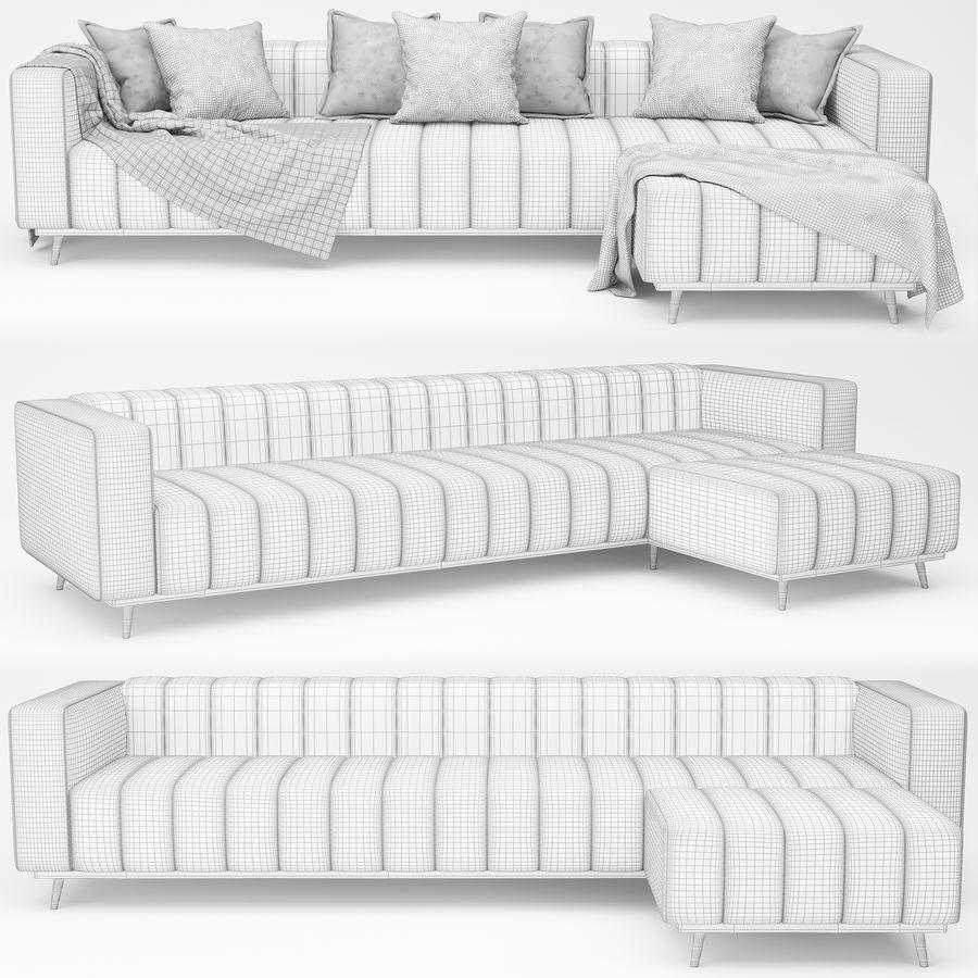 sofa narożna royalty-free 3d model - Preview no. 5