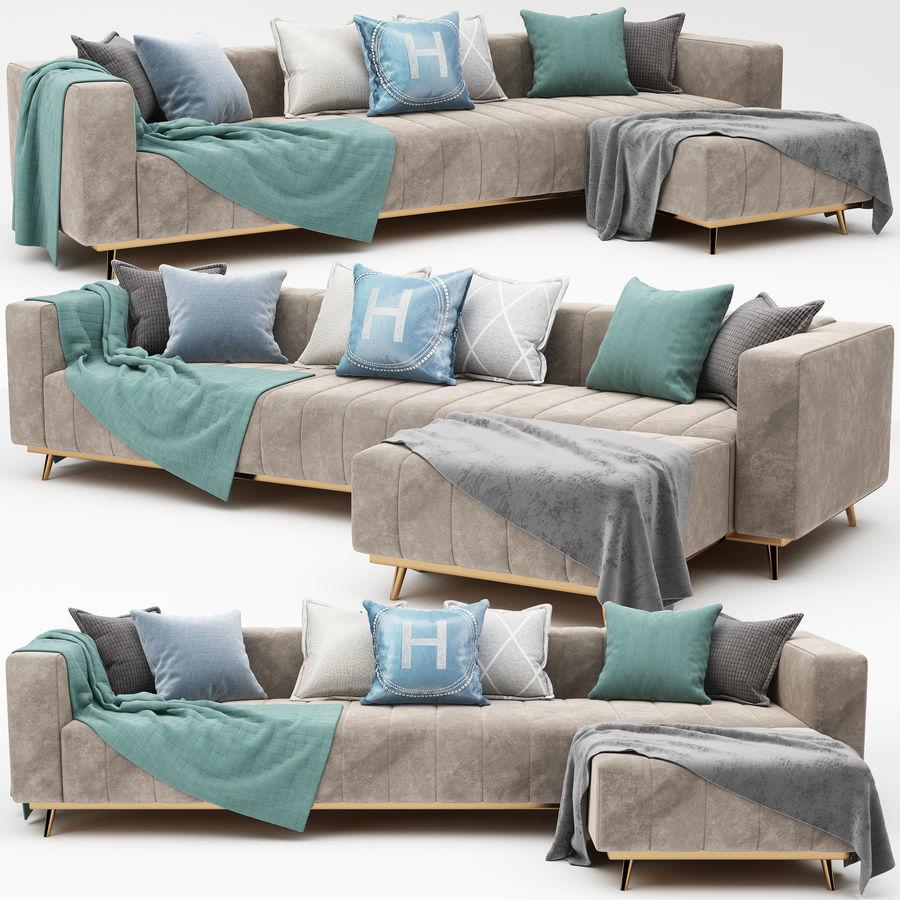sofa narożna royalty-free 3d model - Preview no. 3