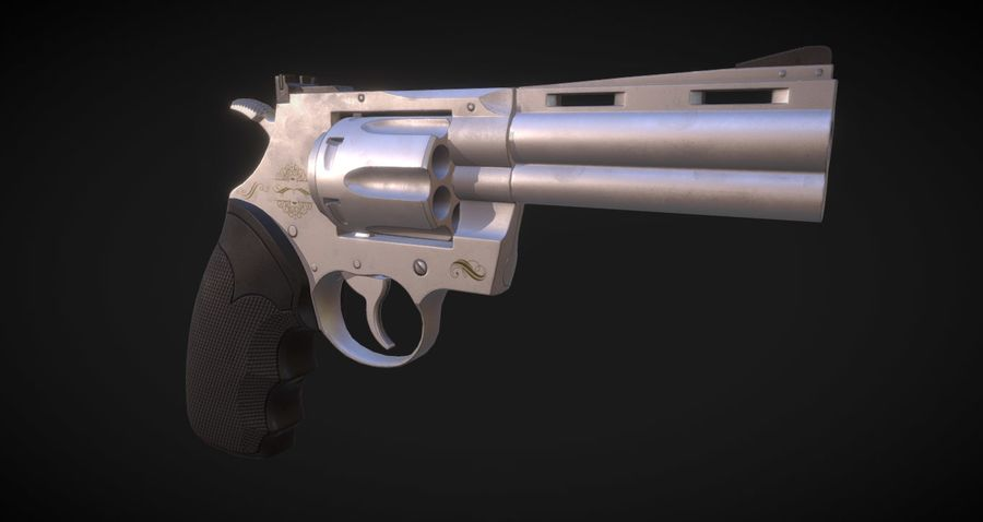 Pistola Revolver Low Poly PBR - Pistola Colt Python 357 royalty-free modelo 3d - Preview no. 8