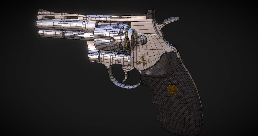 Pistola Revolver Low Poly PBR - Pistola Colt Python 357 royalty-free modelo 3d - Preview no. 12