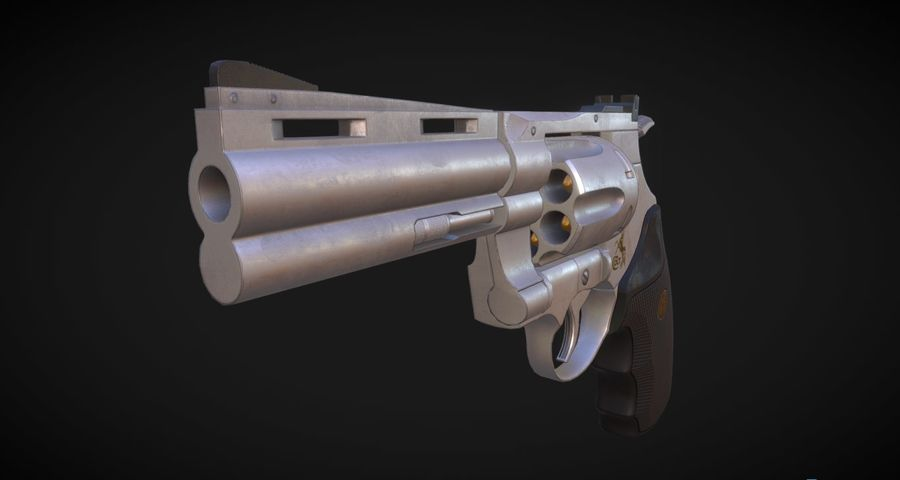 Pistola Revolver Low Poly PBR - Pistola Colt Python 357 royalty-free modelo 3d - Preview no. 4