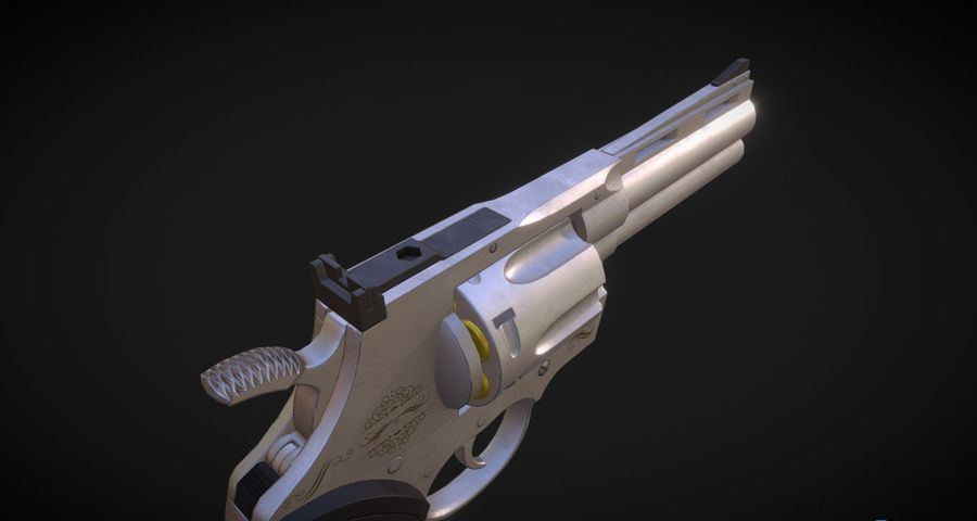 Pistola Revolver Low Poly PBR - Pistola Colt Python 357 royalty-free modelo 3d - Preview no. 10