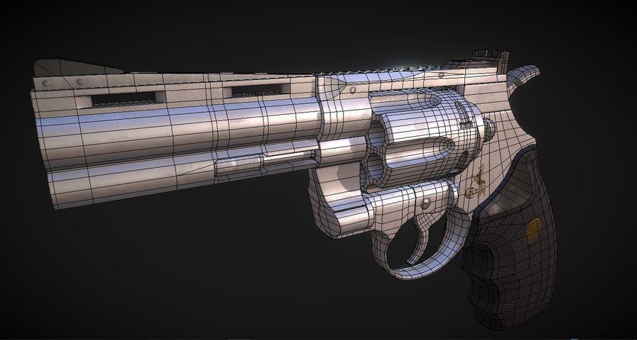 Pistola Revolver Low Poly PBR - Pistola Colt Python 357 royalty-free modelo 3d - Preview no. 11