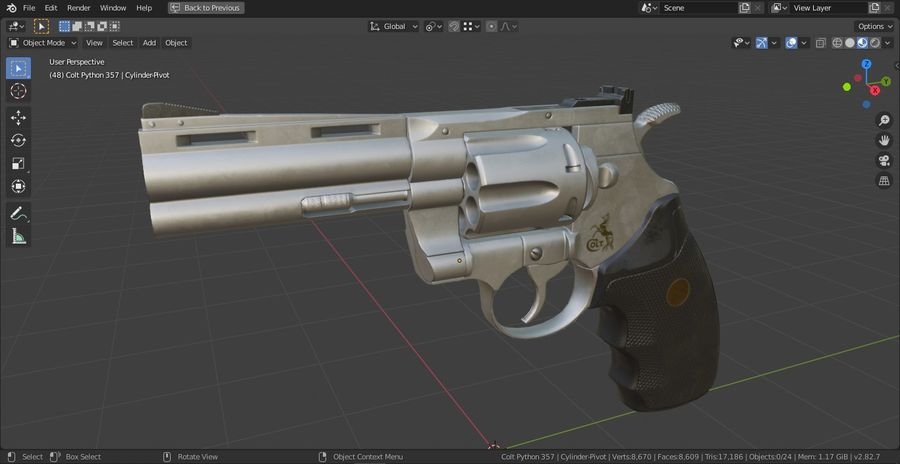 Pistola Revolver Low Poly PBR - Pistola Colt Python 357 royalty-free modelo 3d - Preview no. 21