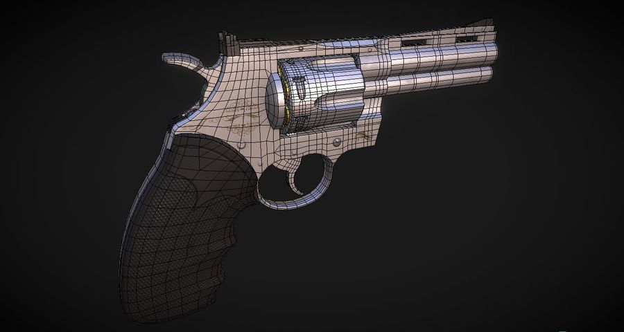 Pistola Revolver Low Poly PBR - Pistola Colt Python 357 royalty-free modelo 3d - Preview no. 14