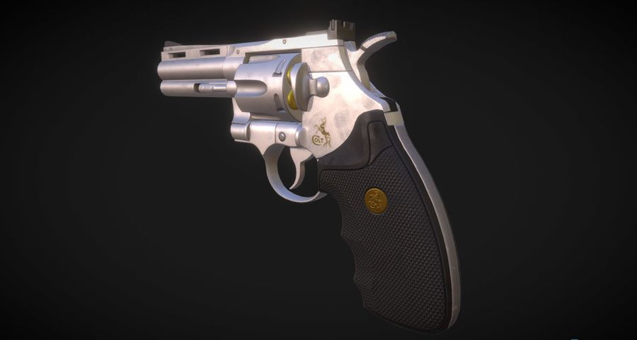 Pistola Revolver Low Poly PBR - Pistola Colt Python 357 royalty-free modelo 3d - Preview no. 2