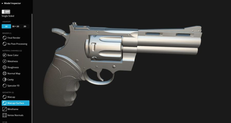 Pistola Revolver Low Poly PBR - Pistola Colt Python 357 royalty-free modelo 3d - Preview no. 15