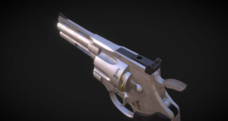 Pistola Revolver Low Poly PBR - Pistola Colt Python 357 royalty-free modelo 3d - Preview no. 3