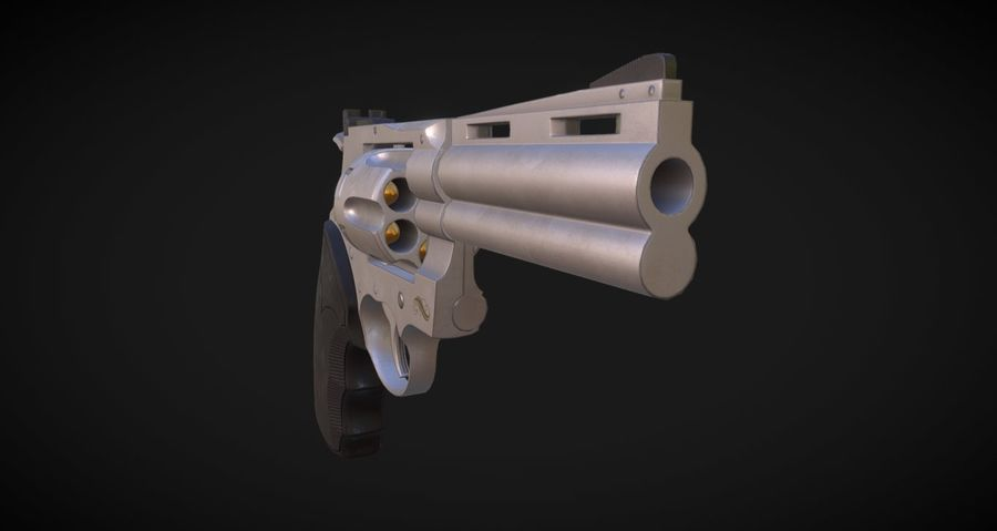 Pistola Revolver Low Poly PBR - Pistola Colt Python 357 royalty-free modelo 3d - Preview no. 9