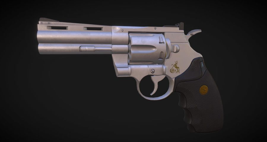 Pistola Revolver Low Poly PBR - Pistola Colt Python 357 royalty-free modelo 3d - Preview no. 5