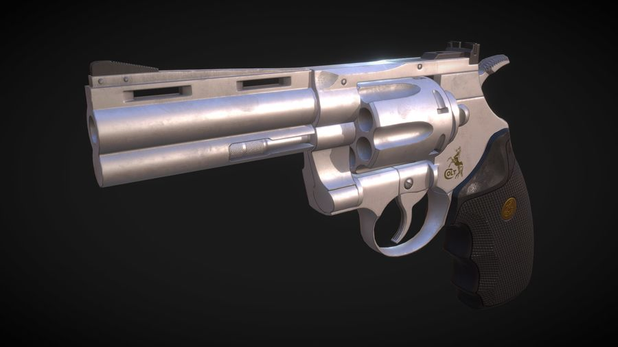 Pistola Revolver Low Poly PBR - Pistola Colt Python 357 royalty-free modelo 3d - Preview no. 1