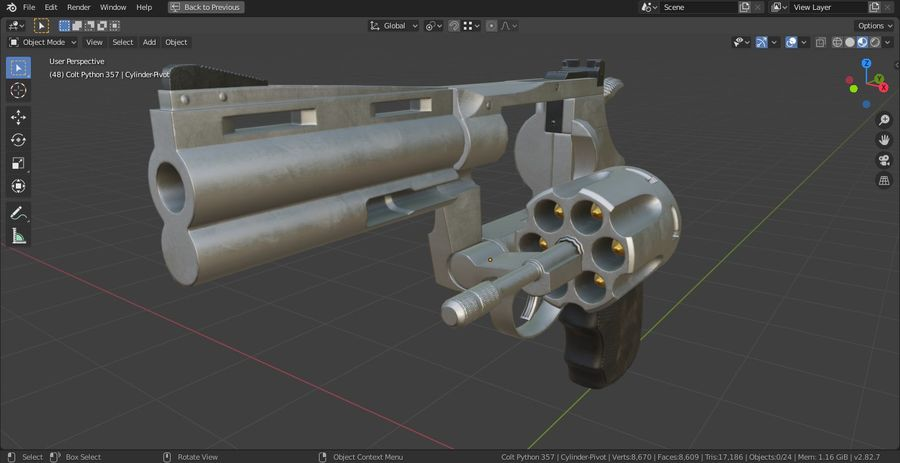 Pistola Revolver Low Poly PBR - Pistola Colt Python 357 royalty-free modelo 3d - Preview no. 19