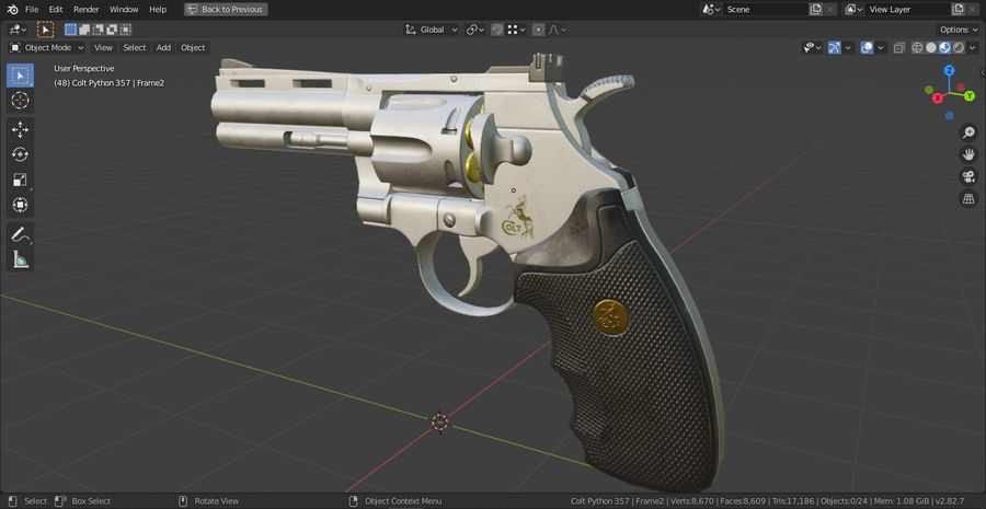 Pistola Revolver Low Poly PBR - Pistola Colt Python 357 royalty-free modelo 3d - Preview no. 17