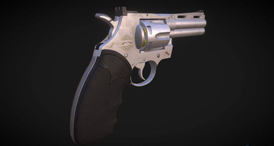 Pistola Revolver Low Poly PBR - Pistola Colt Python 357 royalty-free modelo 3d - Preview no. 6