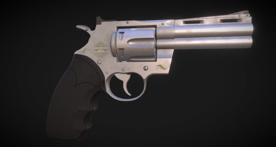 Pistola Revolver Low Poly PBR - Pistola Colt Python 357 royalty-free modelo 3d - Preview no. 7