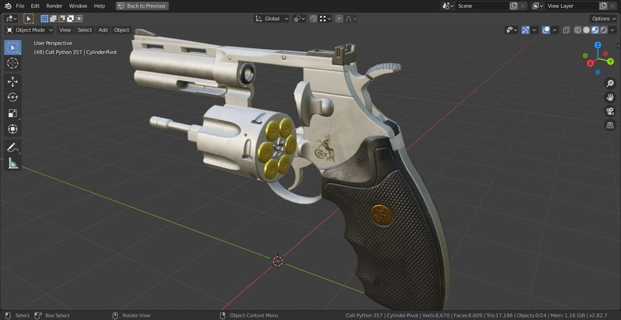 Pistola Revolver Low Poly PBR - Pistola Colt Python 357 royalty-free modelo 3d - Preview no. 18
