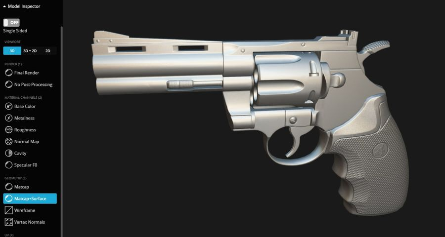 Pistola Revolver Low Poly PBR - Pistola Colt Python 357 royalty-free modelo 3d - Preview no. 16