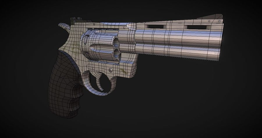 Pistola Revolver Low Poly PBR - Pistola Colt Python 357 royalty-free modelo 3d - Preview no. 13