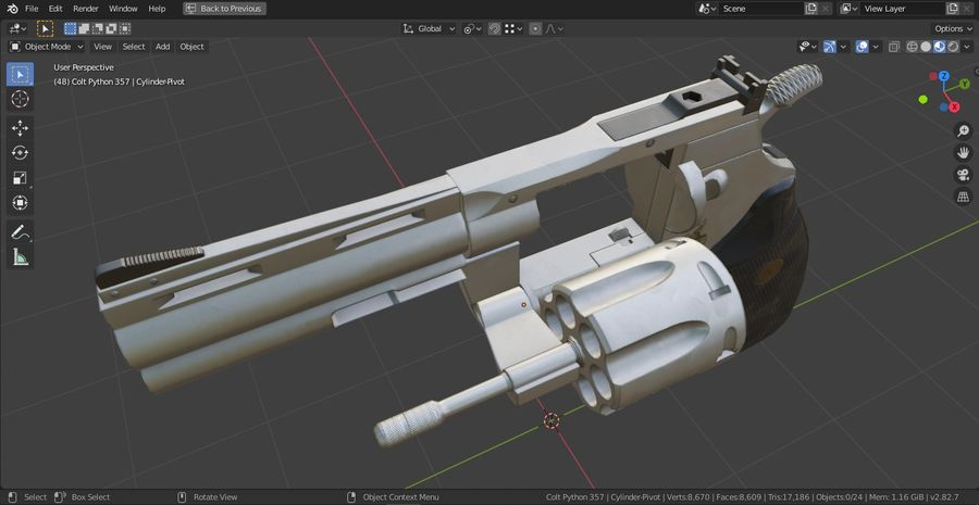 Pistola Revolver Low Poly PBR - Pistola Colt Python 357 royalty-free modelo 3d - Preview no. 20