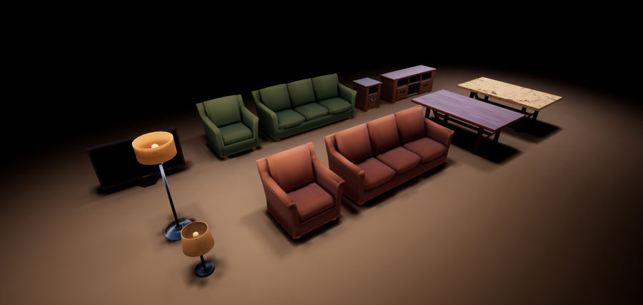 Woonkamer Set royalty-free 3d model - Preview no. 11