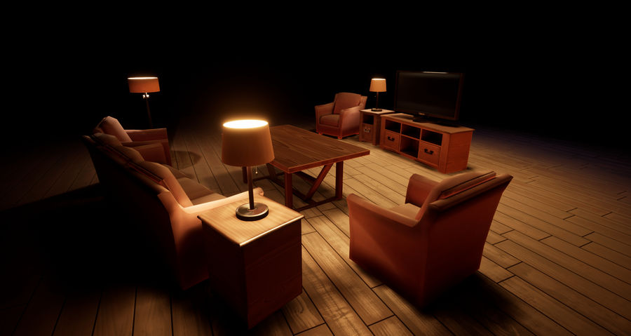 Woonkamer Set royalty-free 3d model - Preview no. 1