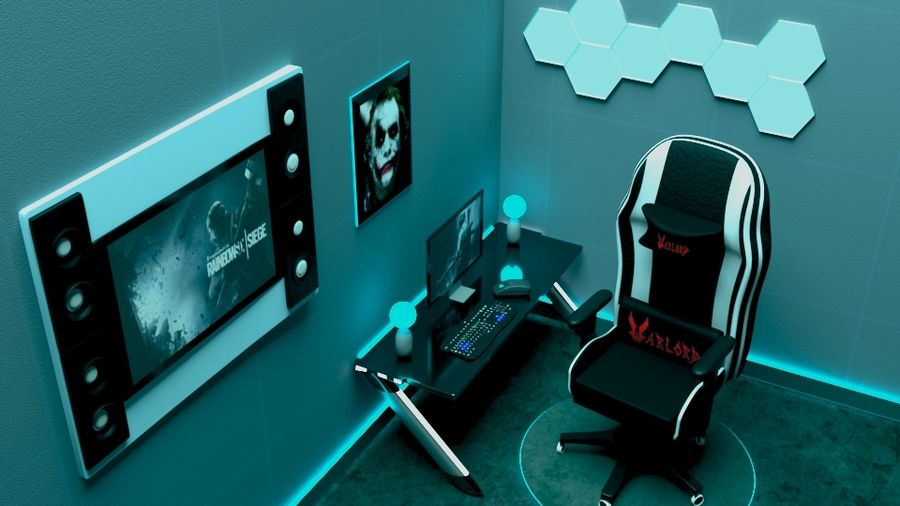 gaming room royalty-free 3d model - Preview no. 1
