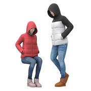 다운 재킷을 입은 여성 3d model