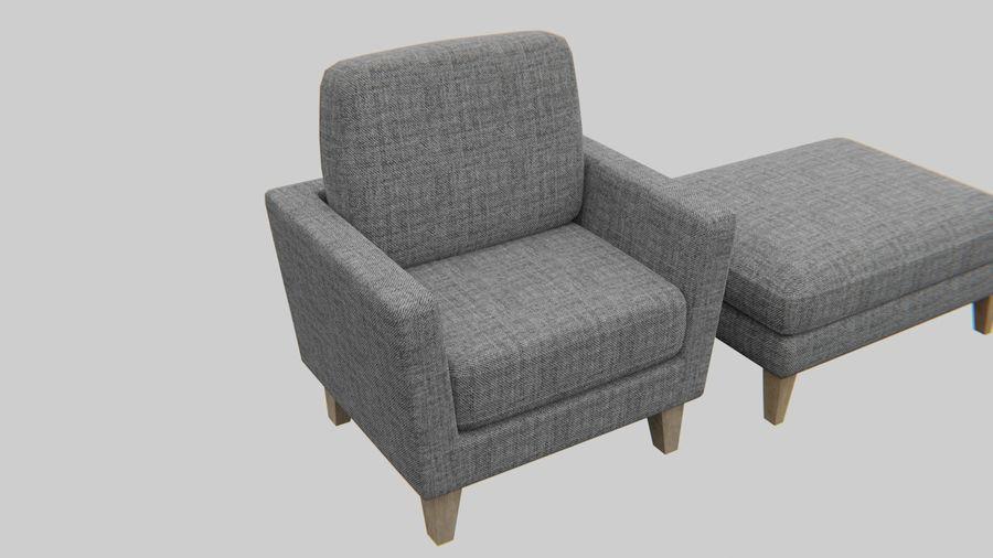 Conjunto de muebles de sofá y otomana royalty-free modelo 3d - Preview no. 3